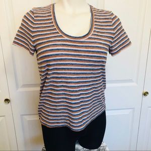 Madewell striped top rust, taupe, & blue striped L